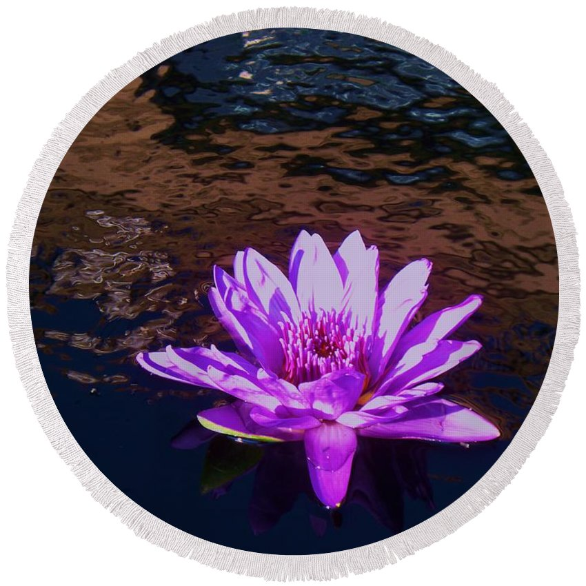 Photograph Round Beach Towel featuring the painting Lily In Pond by Eric Schiabor
