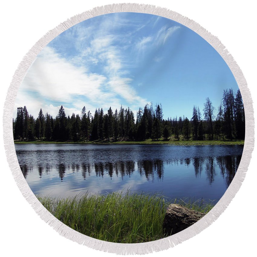 Lily Lake Round Beach Towel featuring the photograph Lily Lake by Julie Tanner