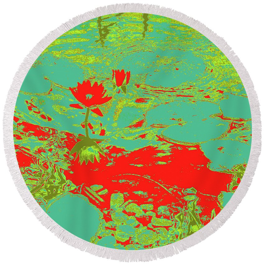 Pond Round Beach Towel featuring the photograph Lily Pads And Koi 33 by Gary Bartoloni
