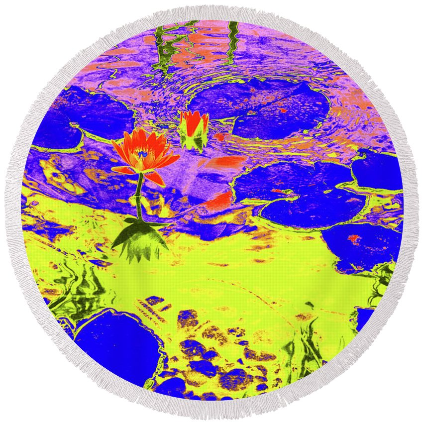 Pond Round Beach Towel featuring the photograph Lily Pads And Koi 9 by Gary Bartoloni