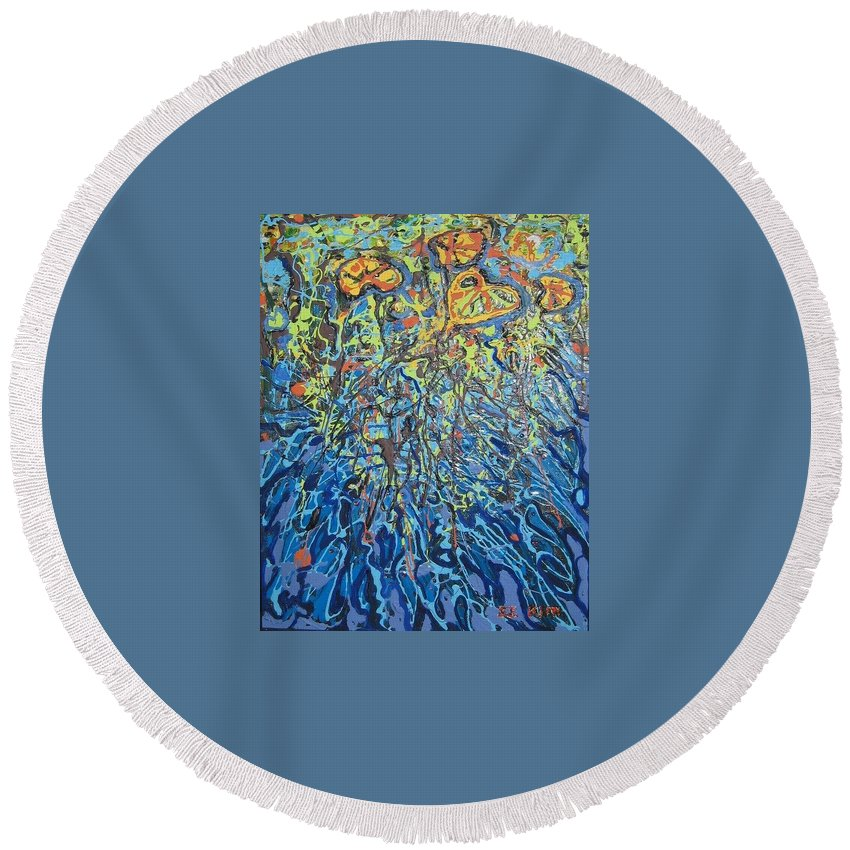 Lily Pads Paintings Round Beach Towel featuring the painting Lily Pads Water Lily Paintings by Seon-Jeong Kim
