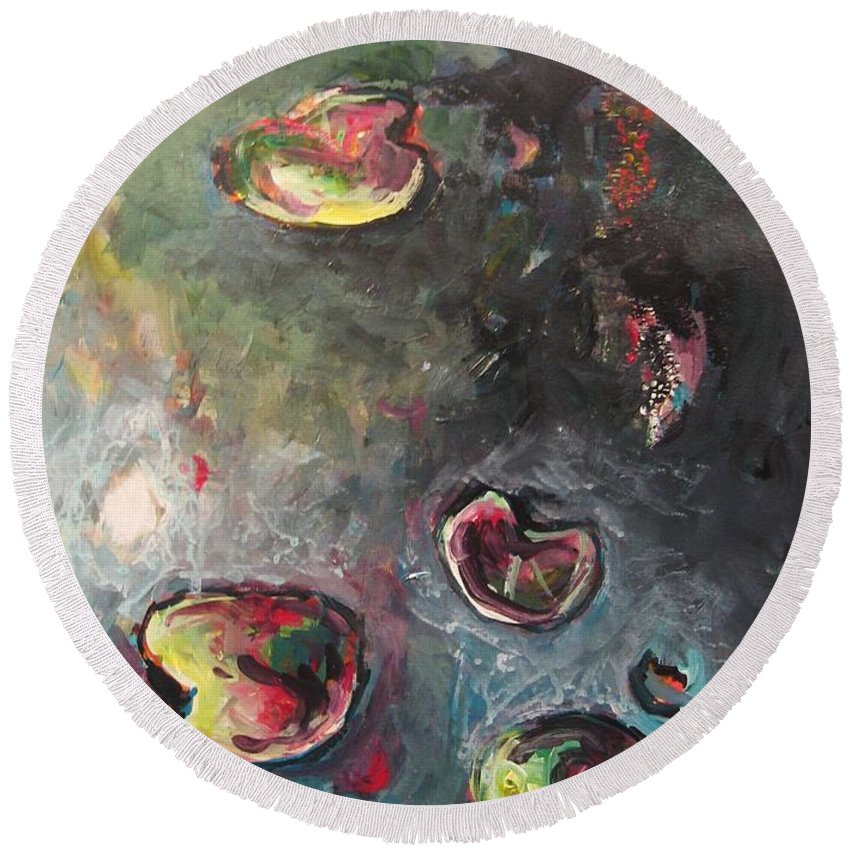 Abstract Painting Lily Pad Water Lake Blue Plant Paper Original Contemporary Canvas Round Beach Towel featuring the painting Lily Pads5 by Seon-Jeong Kim