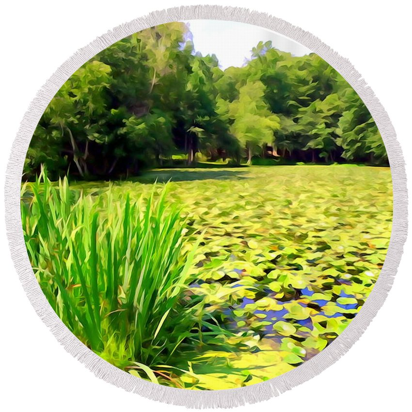 Digital Round Beach Towel featuring the photograph Lily Pond #4 by Ed Weidman