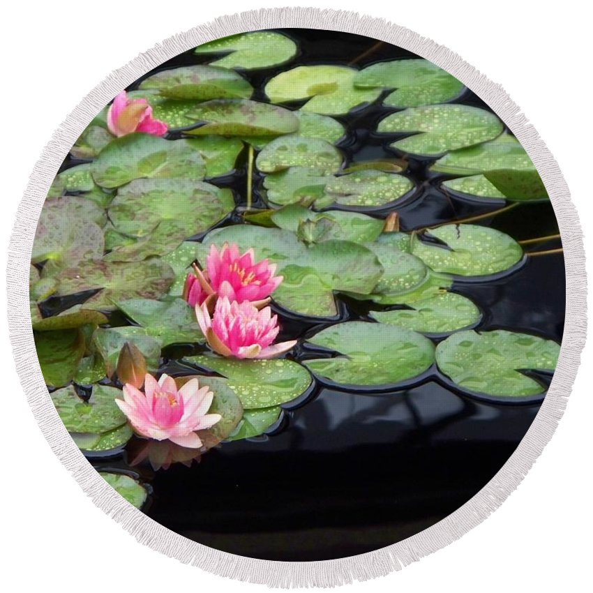 Photograph Round Beach Towel featuring the painting Lily Pond Monet by Eric Schiabor