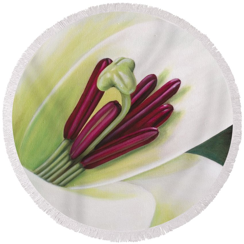 Flower Round Beach Towel featuring the painting Lily by Rob De Vries