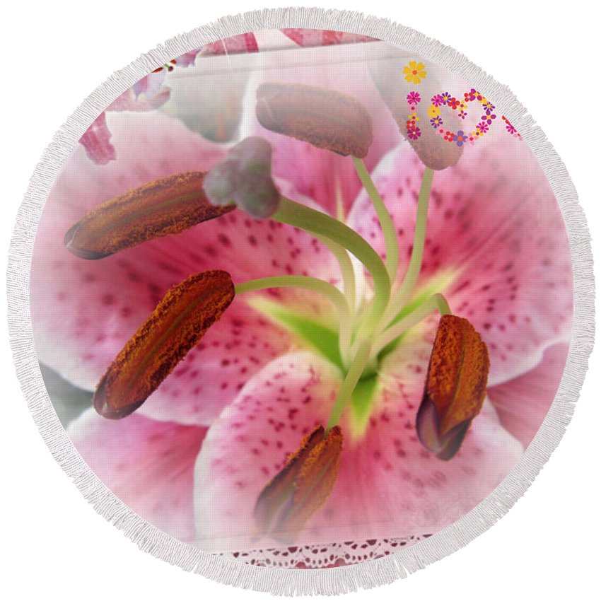 Lily Round Beach Towel featuring the photograph Lily by Vesna Martinjak