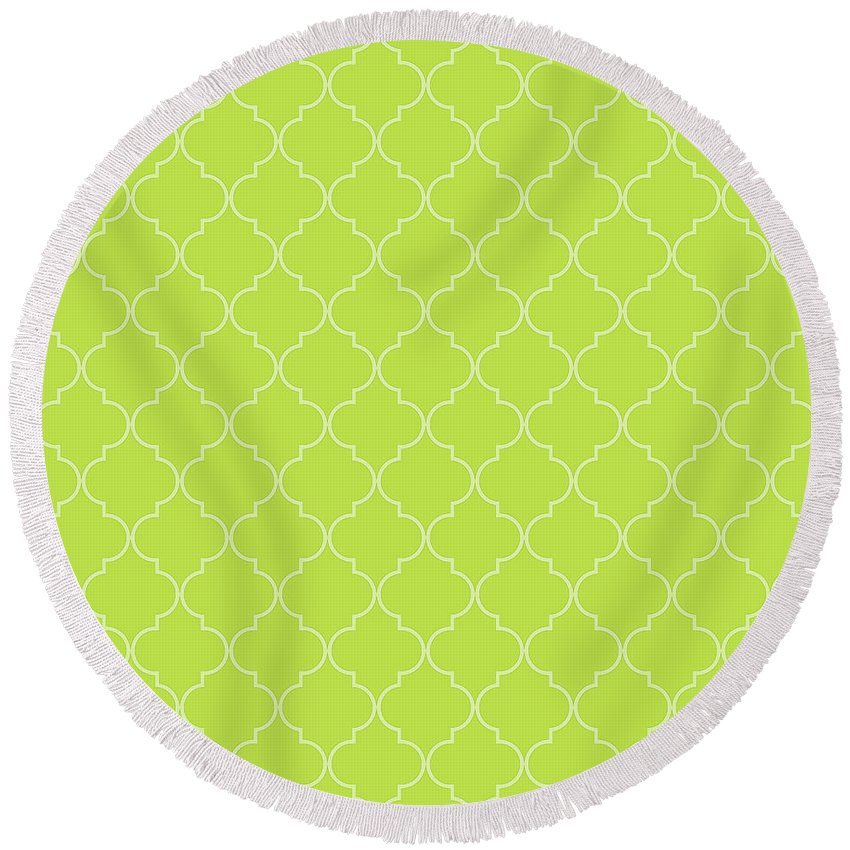 Quatrefoil Round Beach Towel featuring the digital art Lime Punch Quatrefoil by Ashley Wann
