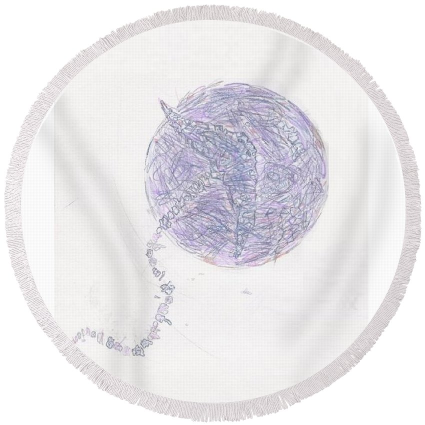 Abstract Round Beach Towel featuring the drawing Lime Regis by Wayne Monninger