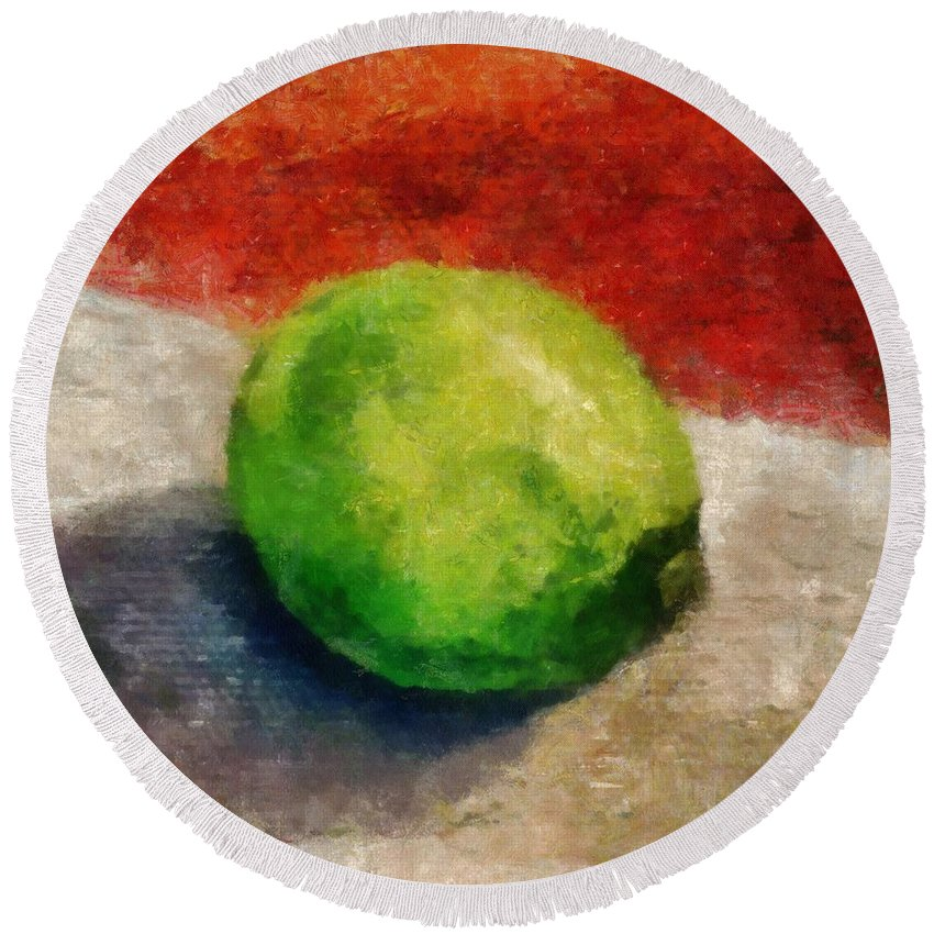 Lime Round Beach Towel featuring the painting Lime Still Life by Michelle Calkins