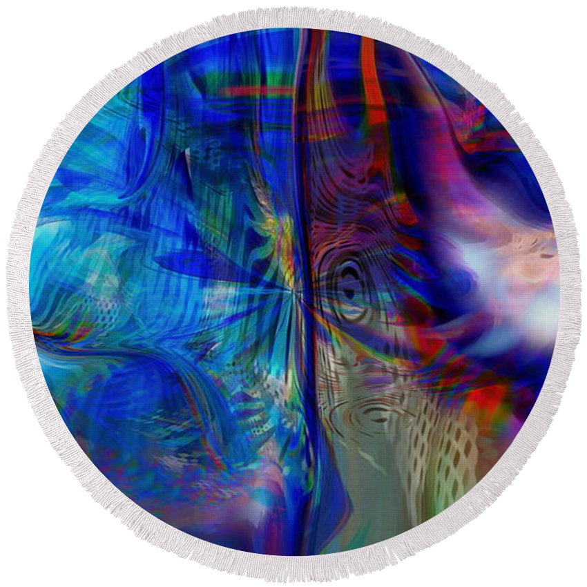 Abstract Round Beach Towel featuring the digital art Limelight by Linda Sannuti
