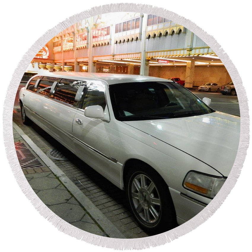 Limo Round Beach Towel featuring the photograph Limo Waiting by Arlane Crump