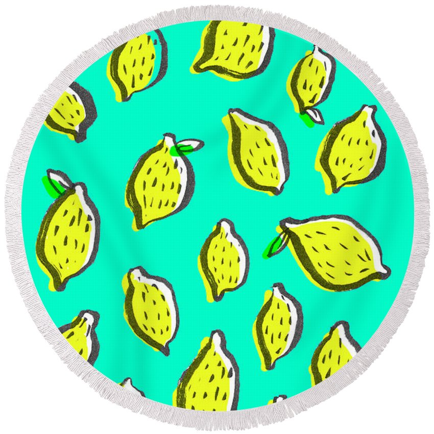 Lemon Drawings Round Beach Towels