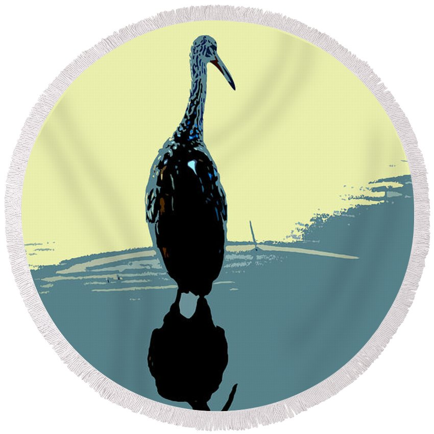 Bird Round Beach Towel featuring the photograph Limp Kin In Color by David Lee Thompson