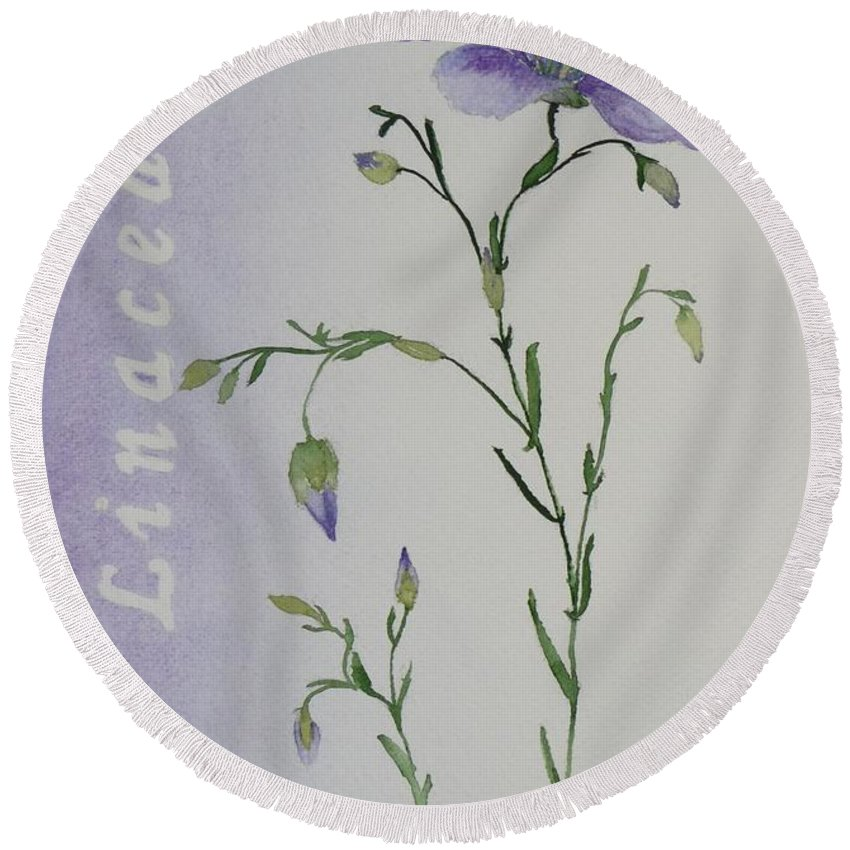 Flower Round Beach Towel featuring the painting Linacea by Ruth Kamenev