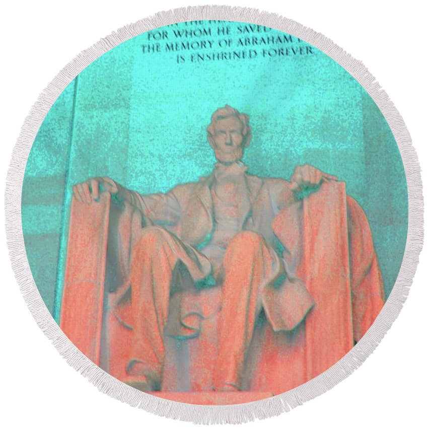 Lincoln Round Beach Towel featuring the photograph Lincoln In Blue by Jost Houk