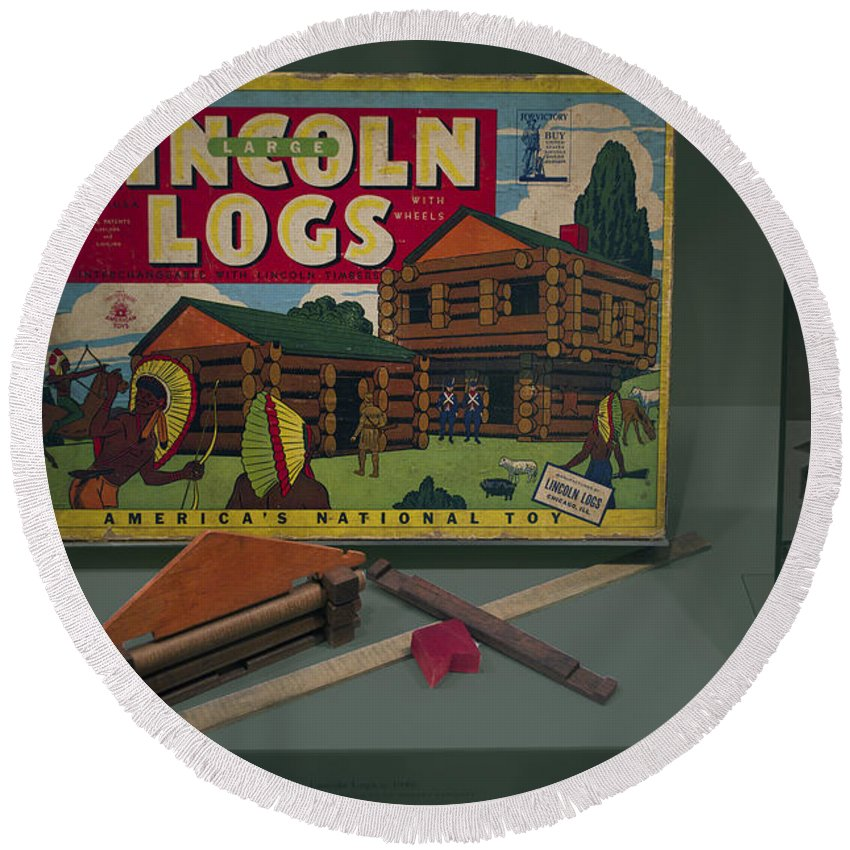 Board Round Beach Towel featuring the photograph Lincoln Logs Toys by Thomas Woolworth
