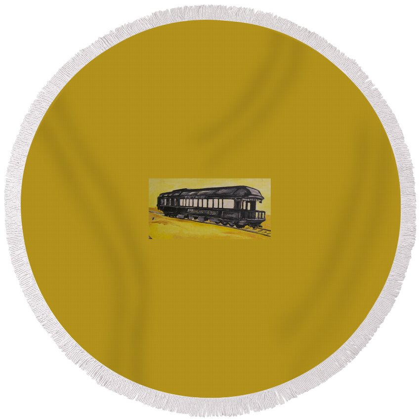 Lincon Round Beach Towel featuring the painting Lincons Funeral Car by Todd Artist
