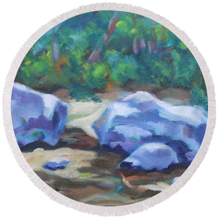 Expressionist Landscape Round Beach Towel featuring the painting Lindenlure by Jan Bennicoff
