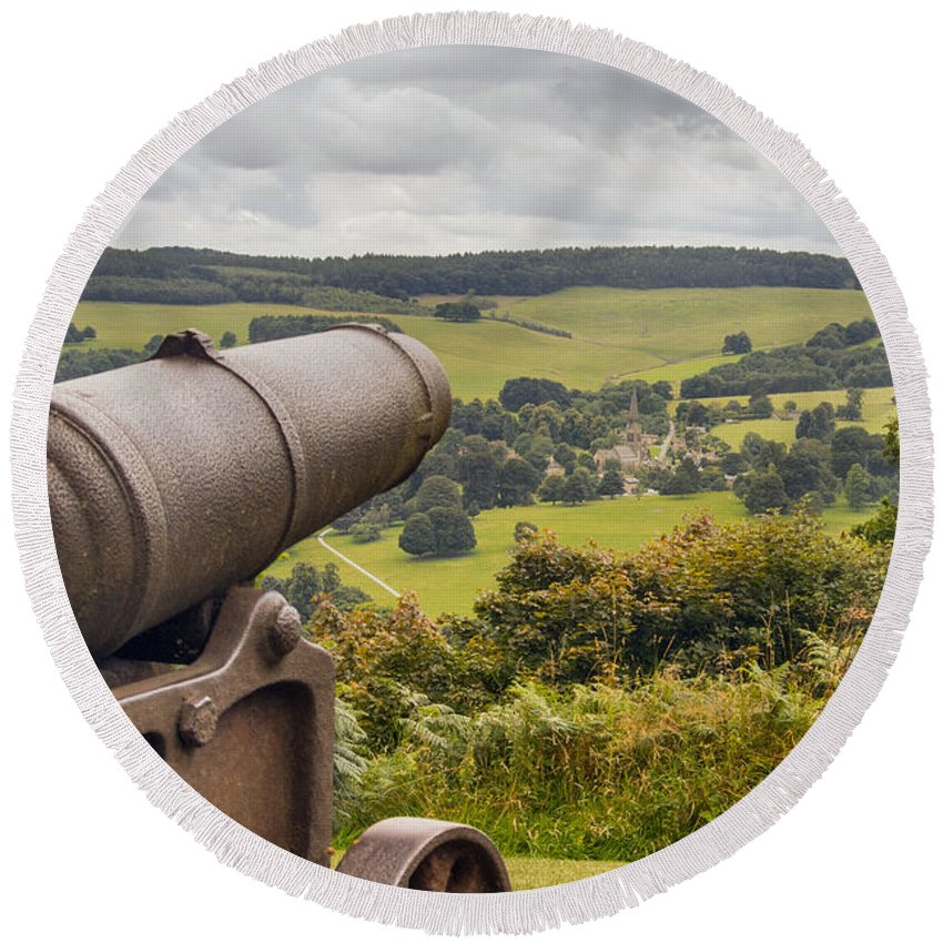 England - Landscape - Fields - Cannon - Trees - Sky Round Beach Towel featuring the photograph Line Of Sight by Chris Horsnell