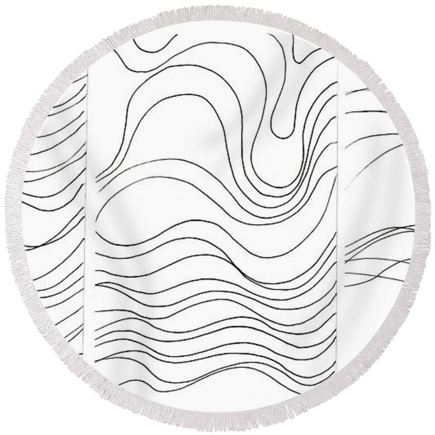 Art Created With Lines Round Beach Towel featuring the digital art Lines 1-2-3 Black On White by Helena Tiainen