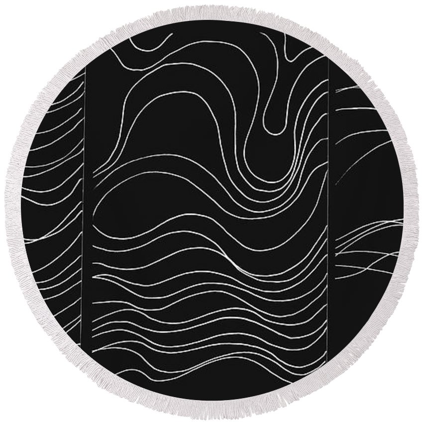 White Lines Round Beach Towel featuring the digital art Lines 1-2-3 White On Black by Helena Tiainen