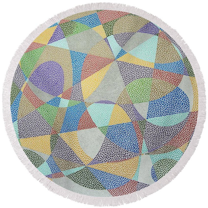 Abstract Round Beach Towel featuring the painting Lines And Curves by Kruti Shah