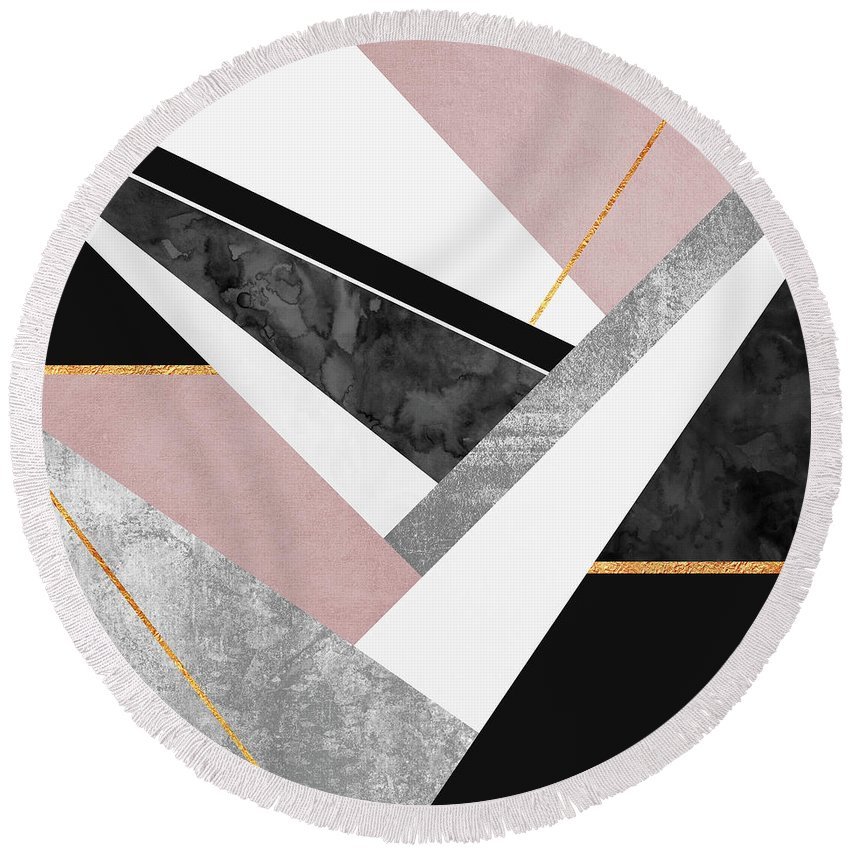 Digital Round Beach Towel featuring the digital art Lines and Layers by Elisabeth Fredriksson