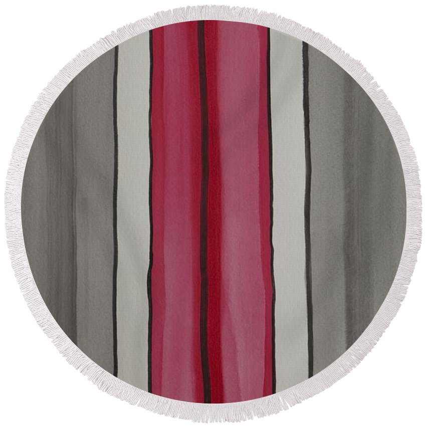Red Round Beach Towel featuring the painting Lines by Jacqueline Athmann
