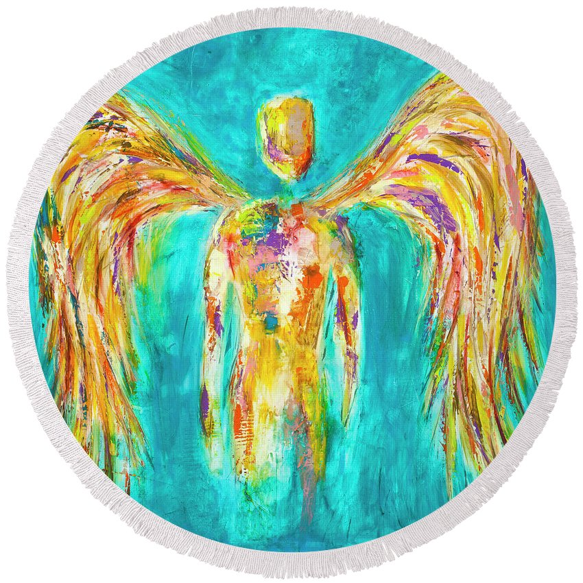 Angel Round Beach Towel featuring the painting Lines Of Color In The Sky by Ivan Guaderrama
