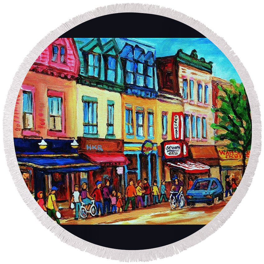 Cityscape Round Beach Towel featuring the painting Lineup For Smoked Meat Sandwiches by Carole Spandau