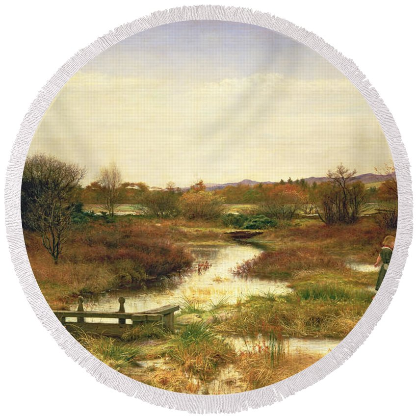 Lingering Autumn Round Beach Towel featuring the painting Lingering Autumn by Sir John Everett Millais