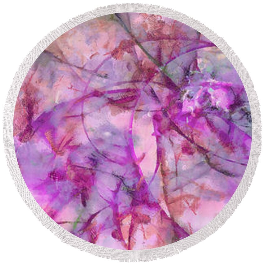 Ndr099 Round Beach Towel featuring the painting Linguistry Leafless Id 16097-232542-78250 by S Lurk