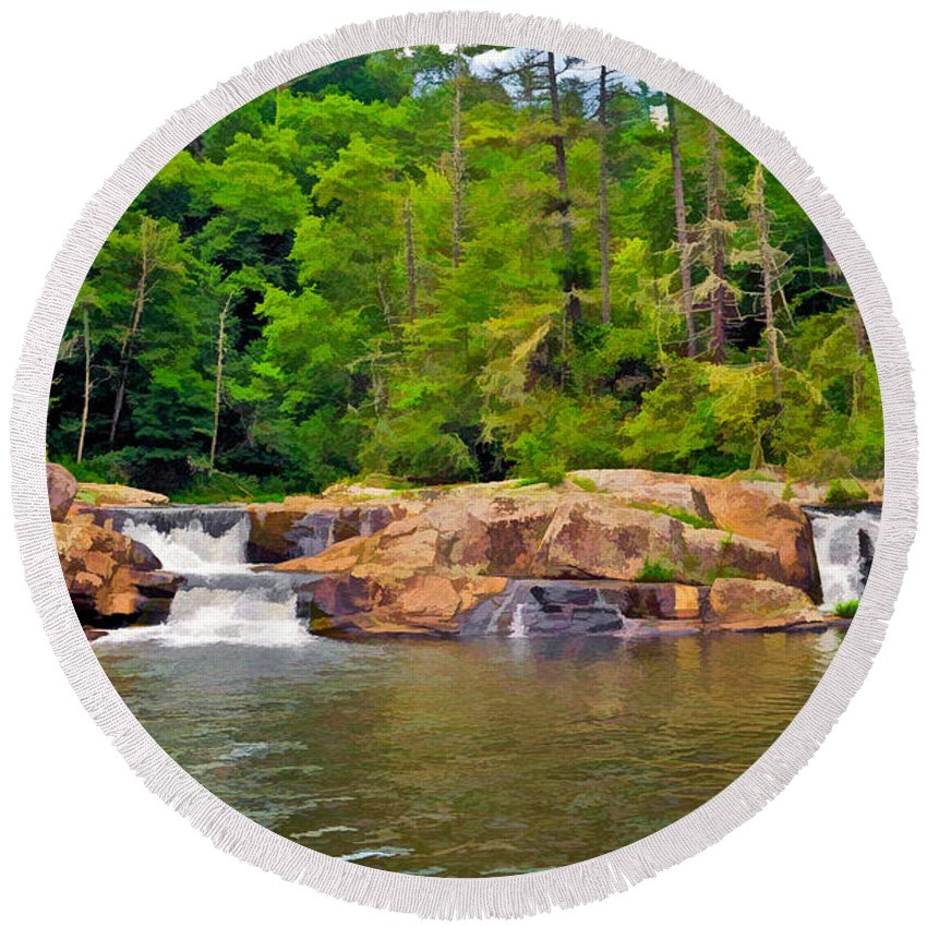 Linville Falls Round Beach Towel featuring the photograph Linville Falls Nc by Ginger Wakem