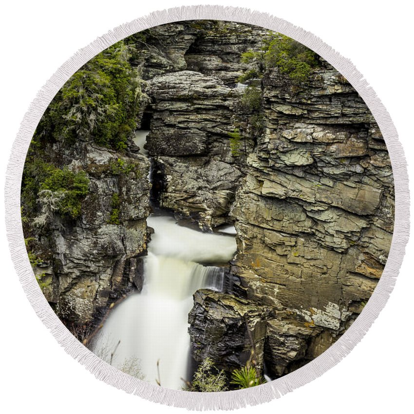 Waterfall Round Beach Towel featuring the photograph Linville Falls The Upper View by Stephen Brown