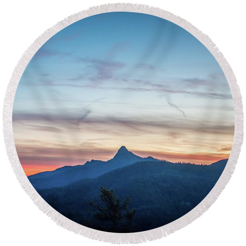 181 Round Beach Towel featuring the photograph Linville Gorge Wilderness Mountains At Sunset by Alex Grichenko