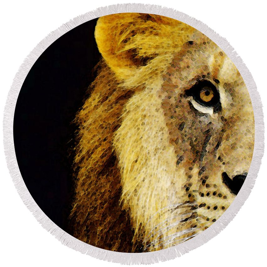 Lions Round Beach Towel featuring the painting Lion Art - Face Off by Sharon Cummings