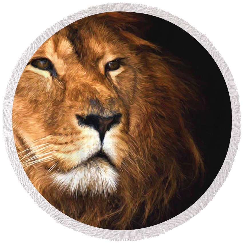 Oil Round Beach Towel featuring the photograph Lion Head Oil Painting by John Williams