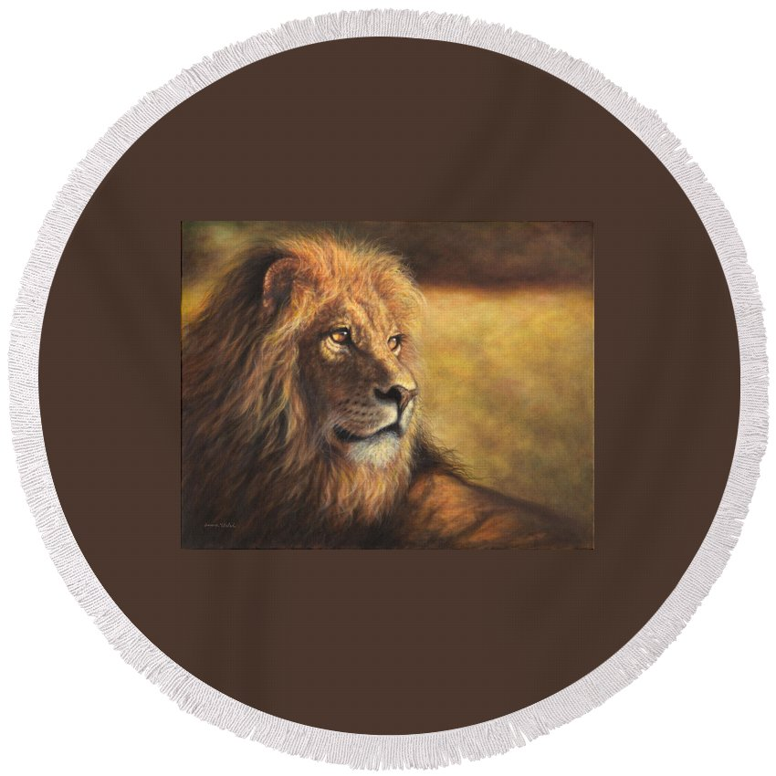 Lion Round Beach Towel featuring the painting Lion Heart by Donna Hillman Walsh