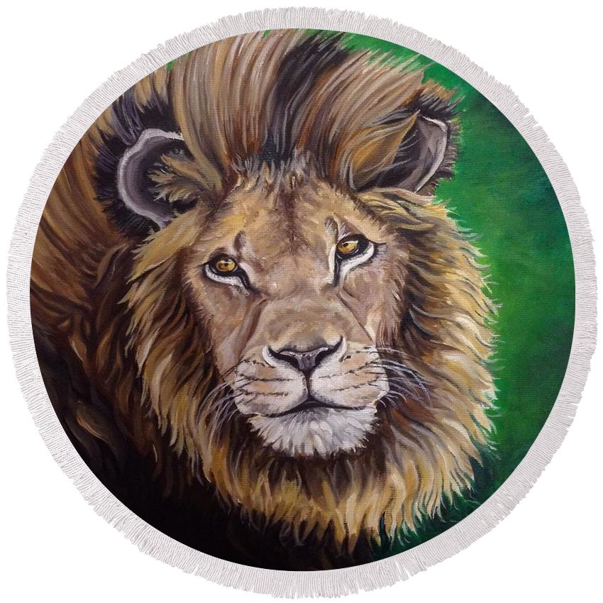 Lion. Wildlife Round Beach Towel featuring the painting Lion by Art By Three Sarah Rebekah Rachel White