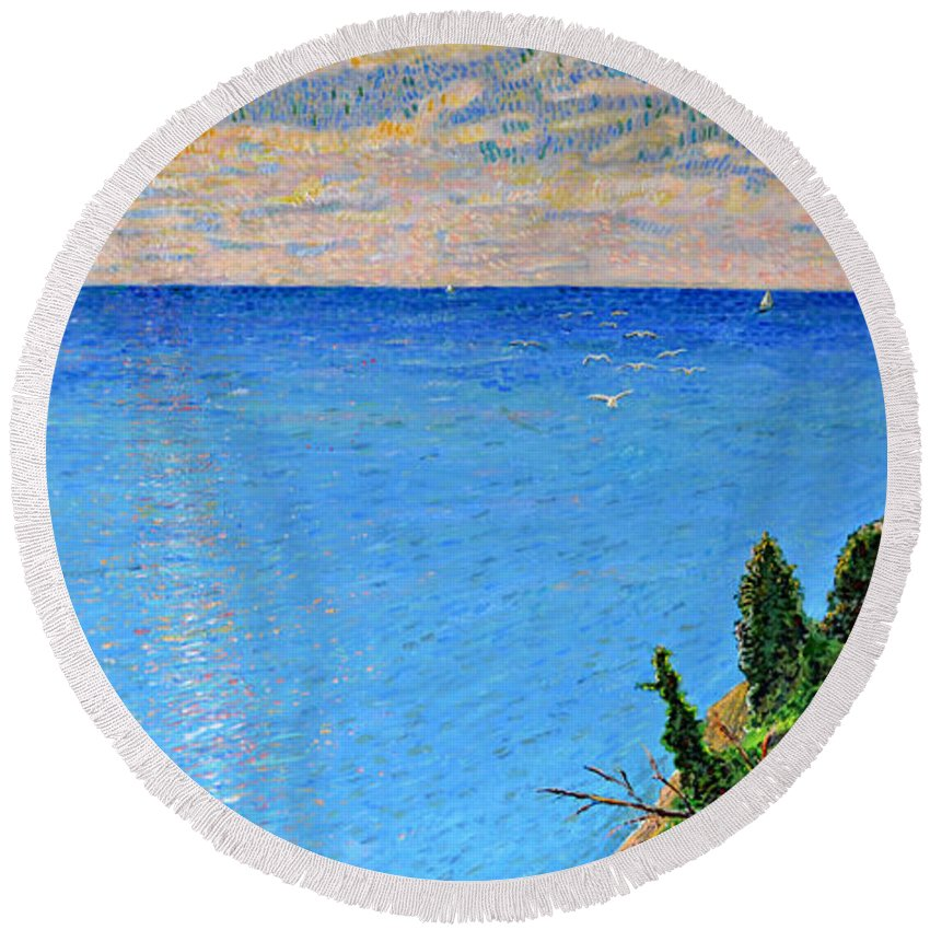 Wandell Round Beach Towel featuring the painting Lions Den Lake Michigan by Richard Wandell