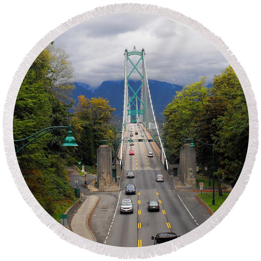 ruth Palmer Round Beach Towel featuring the photograph Lion's Gate Bridge by Ruth Palmer