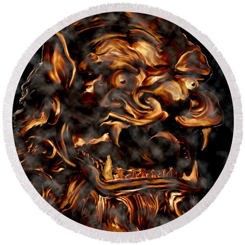 Leo Lion Goth Gothic Wild Emotion Feelings Animal Cloud Fierce Round Beach Towel featuring the digital art Lions Roar by Andrea Lawrence