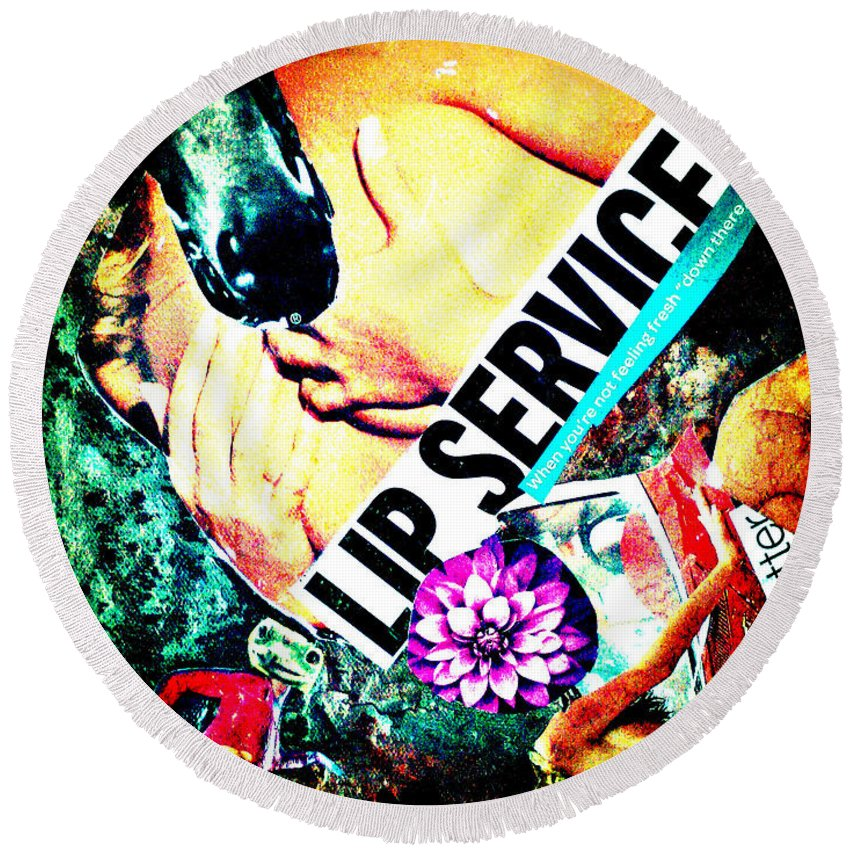 Female Round Beach Towel featuring the painting Lip Service II by Joana Lana