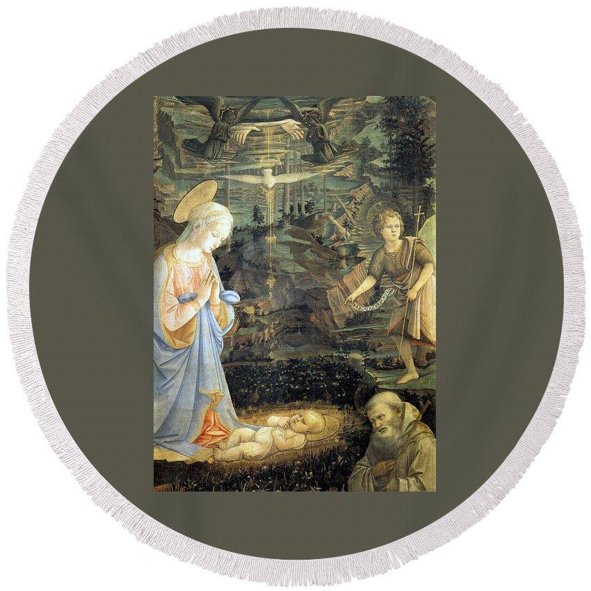 Photograph Round Beach Towel featuring the photograph Lippi Fra Filippo Painting Year1463 by Munir Alawi