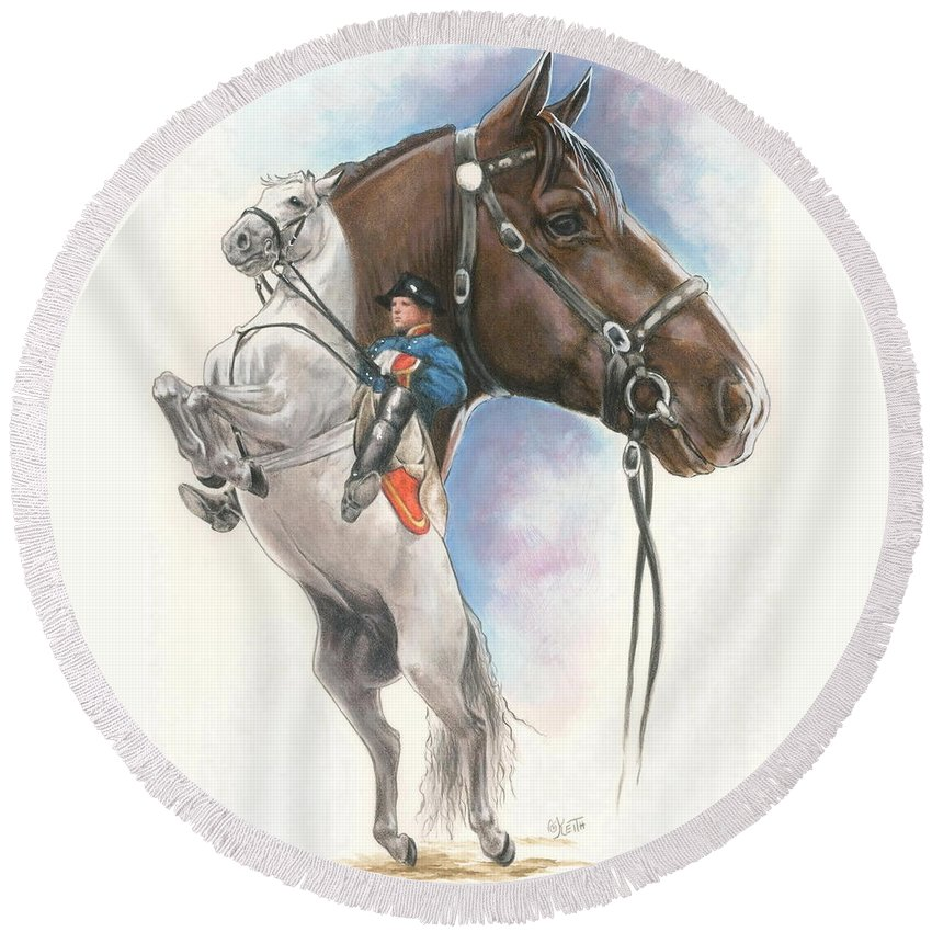 Spanish Riding School Round Beach Towel featuring the mixed media Lippizaner by Barbara Keith