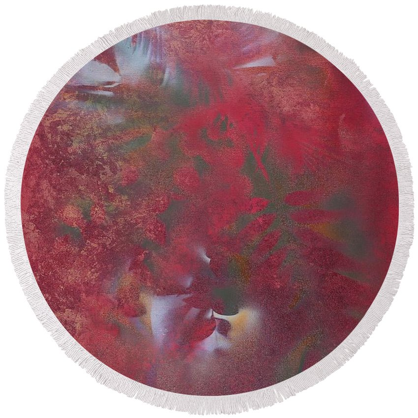 Red Round Beach Towel featuring the painting Lipstick Red Illusion by Brenda Wooldridge