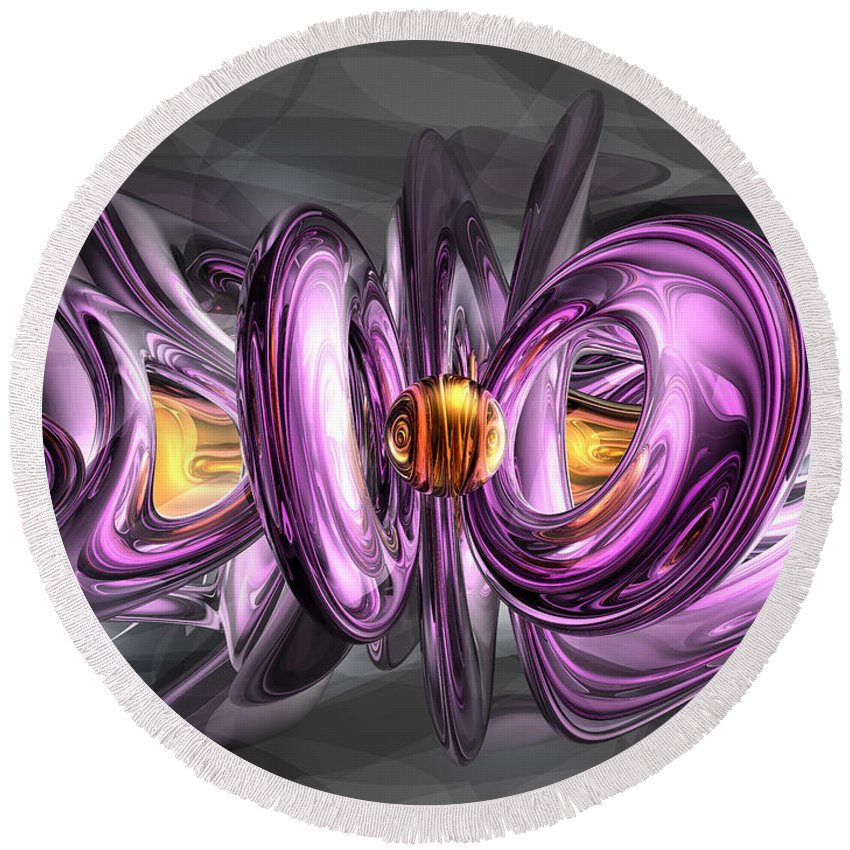 3d Round Beach Towel featuring the digital art Liquid Amethyst Abstract by Alexander Butler