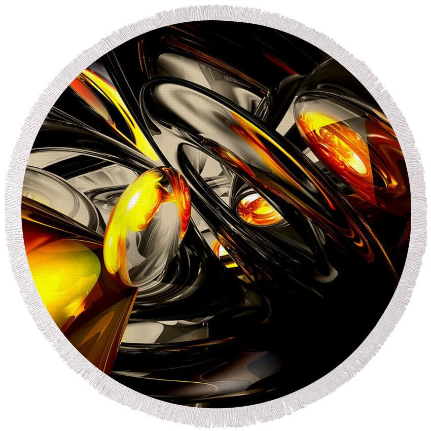 3d Round Beach Towel featuring the digital art Liquid Chaos Abstract by Alexander Butler