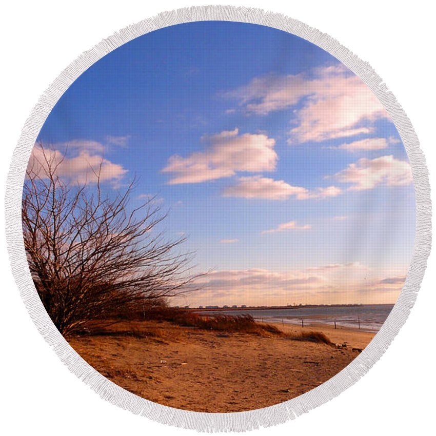 Landscape Round Beach Towel featuring the photograph Listen To The Quiet by Kendall Eutemey