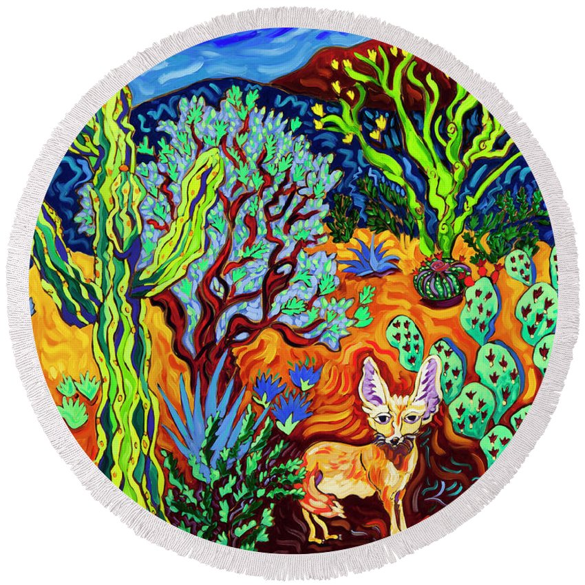 Southwest Round Beach Towel featuring the painting Listening To The Sounds Of The Universe by Cathy Carey